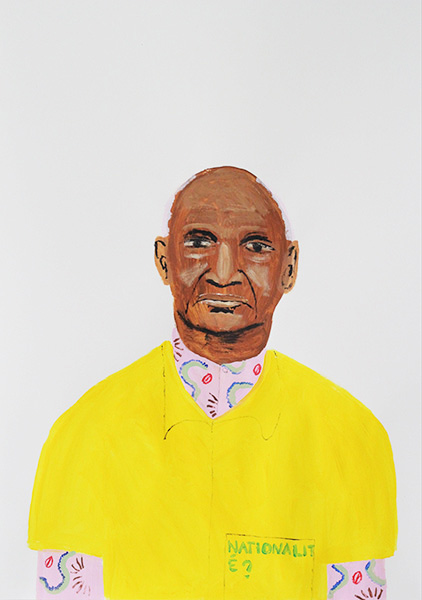 Gregory Olympio, Nationalité, Chemises Jaunes series, 84.1 x 59.4 cm, acrylic on paper, 2019
