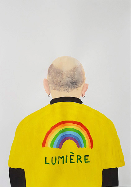 Gregory Olympio, Lumière, Chemises Jaunes series, 84.1 x 59.4 cm, acrylic on paper, 2019